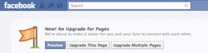 new facebook page upgrade