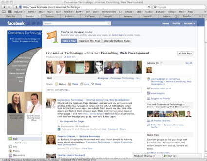 preview mode - what a new facebook page looks